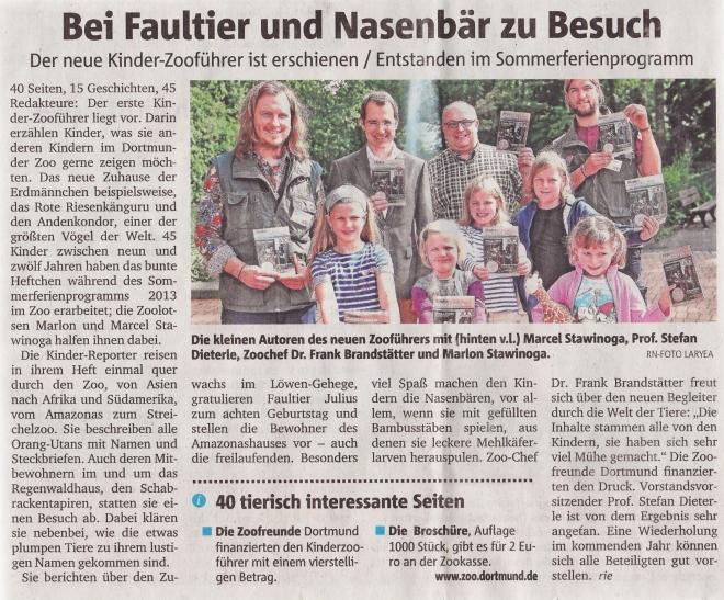Bericht über den Kinder-Zooführer in den Ruhr Nachrichten